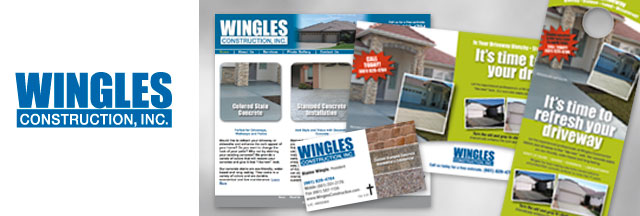 Wingles Construction, Inc. logo and collateral samples
